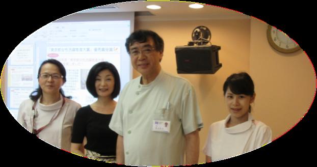 左から村上看護師長・Fine松本代表・蔵本院長・大迫看護師